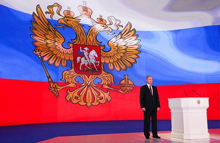 Президент РФ Владимир Путин после выступления с ежегодным посланием к Федеральному Собранию РФ.