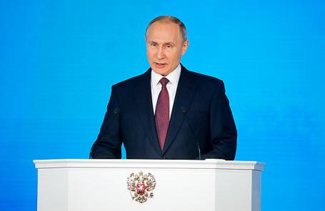Президент РФ Владимир Путин во время выступления с ежегодным посланием к Федеральному Собранию РФ.