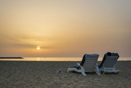 Объединенные Арабские Эмираты. Дубай. Закат на Персидском заливе.