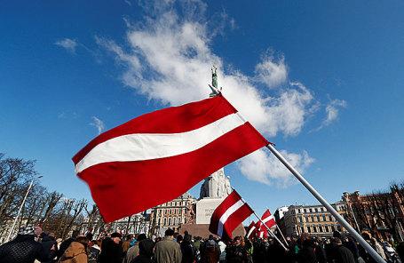 Шествие в память о бывших легионерах CC в Риге, Латвия, 16 марта 2018.