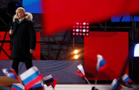 Владимир Путин на митинге-концерте в честь воссоединения Крыма с Россией, 18 марта 2018 года.