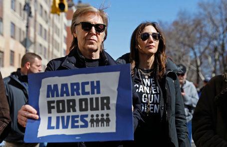 Пол Маккартни на «Марше за нашу жизнь» в Нью-Йорке, 24 марта 2018 года.