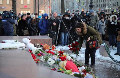 Акция на Пушкинской площади в память о погибших при пожаре в кемеровском торговом центре «Зимняя вишня», 27 марта 2018.