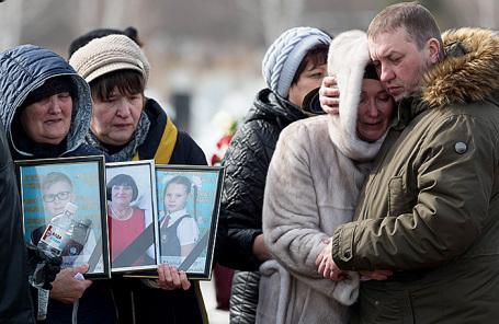 Похороны погибших при пожаре в торговом центре «Зимняя вишня» в Кемерове.