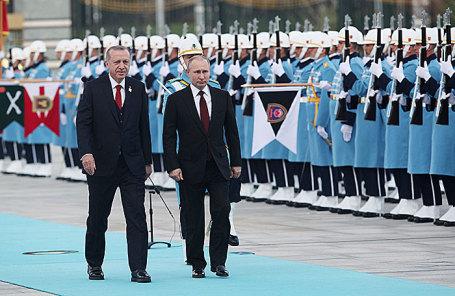 Президент России Владимир Путин и президент Турции Реджеп Тайип Эрдоган во время встречи в Анкаре, 3 апреля 2018.