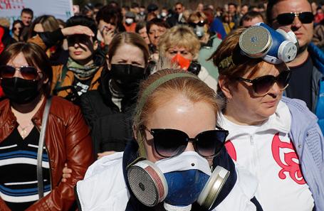 Митинг против мусорного полигона «Ядрово» в Волоколамске.
