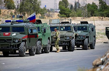 Российские военные машины в восточной части Гуты недалеко от Думы.