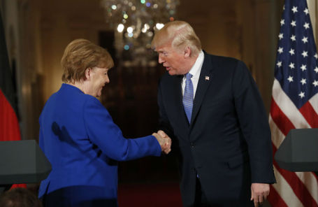 Канцлер ФРГ Ангела Меркель и президент США Дональд Трамп.