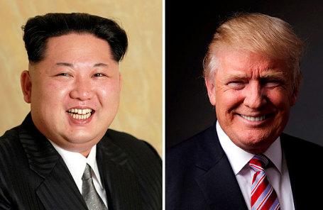 Лидер Северной Кореи Ким Чен Ын и президент США Дональд Трамп.
