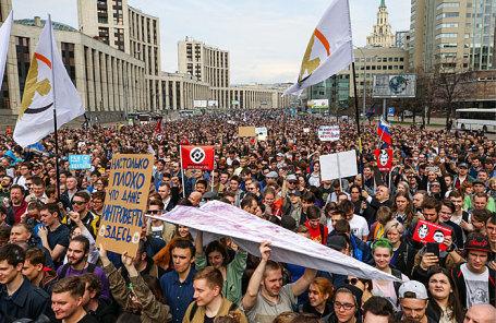 Участники митинга за свободу интернета и в защиту мессенджера Telegram на проспекте Академика Сахарова.