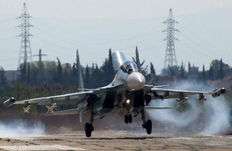 Российский многоцелевой истребитель Су-30СМ на авиабазе «Хмеймим».