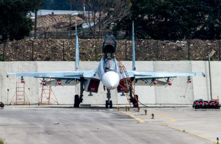 Многоцелевой истребитель Су-30СМ на российской авиабазе «Хмеймим».