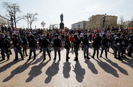 Митинг на Пушкинской площади в Москве, 5 мая 2018 года.
