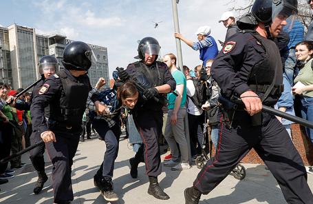 На митинге в поддержку Навального в Москве, 5 мая 2018 года.