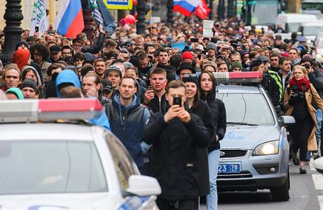 Протестная акция оппозиции в Санкт-Петербурге, 5 мая 2018 года.