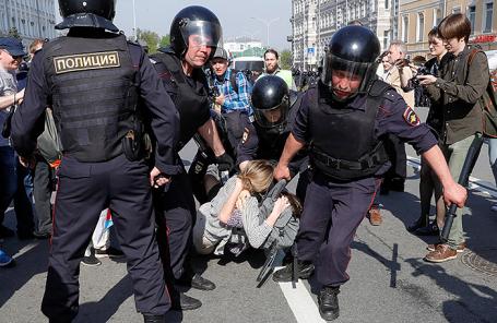 Митинг оппозиции в Москве, 5 мая 2018 года.