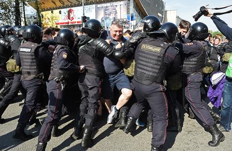 Протестная акция оппозиции в Москве, 5 мая 2018 года.