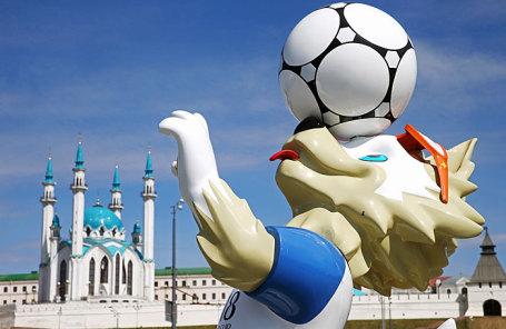 Официальный талисман чемпионата мира по футболу FIFA 2018 волк Забивака во время открытия Парка футбола чемпионата мира 2018 года.
