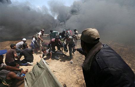 Протестующие в секторе Газа.