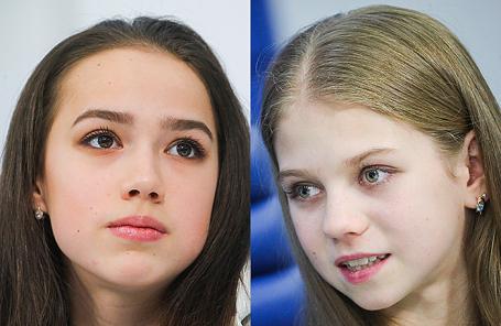 Алина Загитова и Александра Трусова (слева направо).
