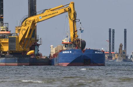 Подготовительные работы для прокладки труб газопровода «Северный поток — 2» в Грайфсвальдском заливе.