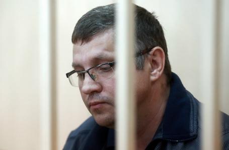 Подозреваемый в денежных махинациях управляющий директор по инвестиционной деятельности АО «Роснано» Андрей Горьков во время рассмотрения ходатайства следствия об аресте в Басманном суде 11 июня 2017 года.