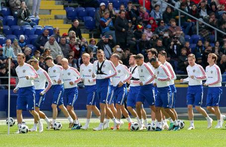 Тренировка сборной России в преддверии чемпионата мира по футболу.