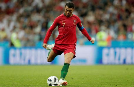 Криштиану Роналду на матче Испания — Португалия в Сочи.