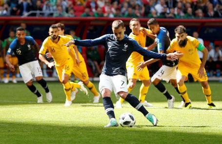 Антуан Гризманн на матче Франция — Австралия в Казани, 16 июня 2018 года.