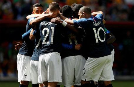 Игроки сборной Франции на матче против Австралии, 16 июля 2018 года.