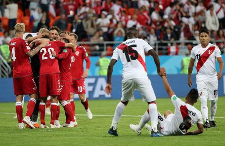 На матче Дания — Перу на стадионе «Мордовия-Арена» в Саранске, 16 июля 2018 года.