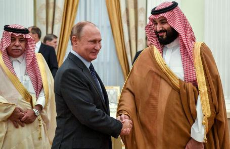 Президент РФ Владимир Путин и наследный принц Саудовской Аравии Мухаммед бен Салман в Кремле, 14 инюня 2018 года.