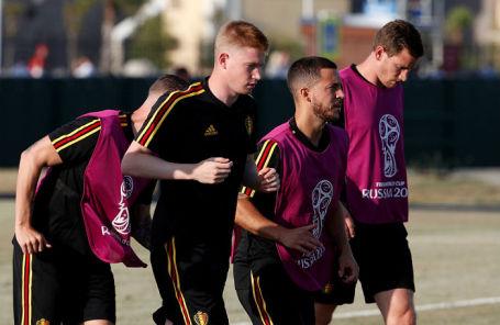 На тренировке сборной Бельгии в Сочи.