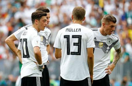Игроки сборной Германии на матче против Мексики, 17 июля 2018 года.