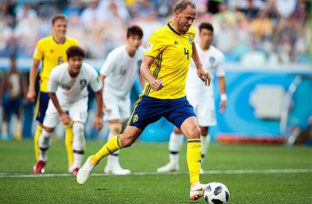 Игрок сборной Швеции Андреас Гранквист в матче группового этапа чемпионата мира по футболу - 2018 между сборными командами Швеции и Южной Кореи.