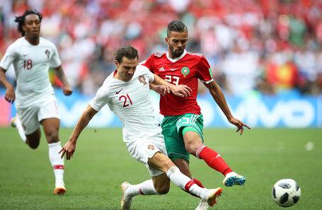 Игроки сборной Марокко и Португалии в матче группового этапа чемпионата мира по футболу - 2018.