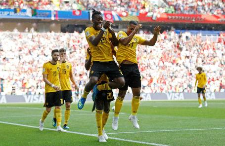 Игроки сборной Бельгии на матче против команды Туниса, 23 июня 2018 года.