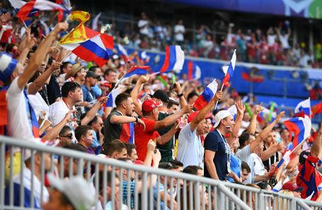 На стадионе «Самара-Арена» во время матча Россия — Уругвай, 25 июня 2018 года.