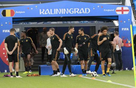 Тренировка сборной Бельгии.
