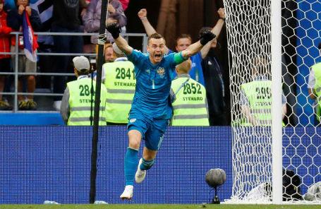 Игорь Акинфеев на матче против сборной Испании.