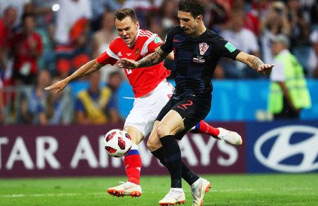 Игроки сборных России и Хорватии в матче 1/4 финала чемпионата мира по футболу - 2018 между сборными командами России и Хорватии.