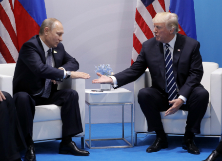Президент РФ Владимир Путин и президент США Дональд Трамп.