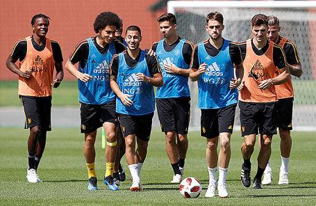 Тренировка сборной Бельгии по футболу.