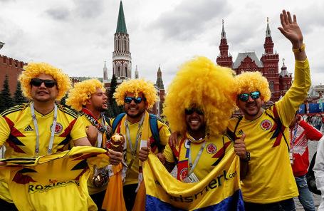 Колумбийские болельщики на Красной площади.