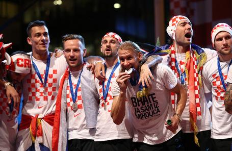 Сборная Хорватии на встрече с болельщиками в Загребе.