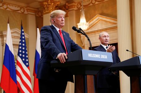 Президент США Дональд Трамп и президент России Владимир Путин на совместной пресс-конференции в Хельсинки, 16 июля 2018 года