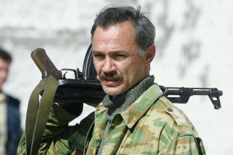 Евгений Леонов-Гладышев во время съемок  художественного фильма «Атаман»