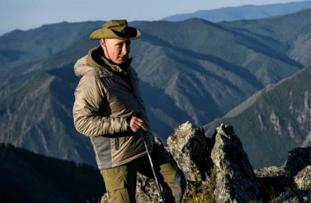 Республика Тыва. Президент РФ Владимир Путин во время отдыха.