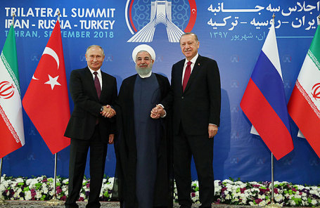 Владимир Путин, Хасан Роухани и Реджеп Эрдоган на встрече в Тегеране.
