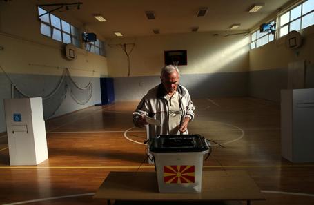 Голосование в Скопье, Македония.